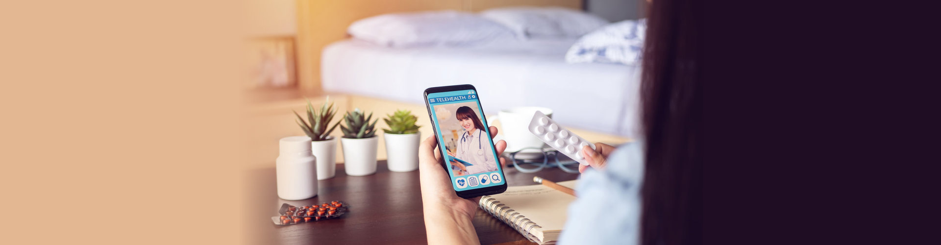 sick woman use video conference, make online consultation with doctor on mobile application, patient ask doctor about illness, medication via video call. Telehealth, Telemedicine and online hospital